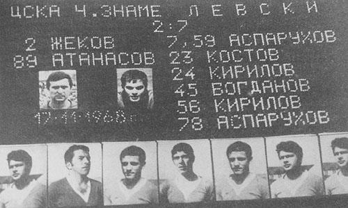 Таблото с историческия за Левски резултат 7:2