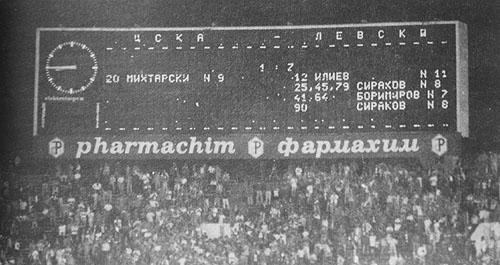 Таблото при рекордното 7:1 за Левски